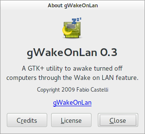 About dialog for gWakeOnLAN 0.3