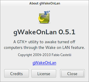 About dialog for gWakeOnLAN 0.5.1