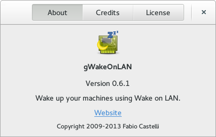 About dialog for gWakeOnLAN 0.6.1
