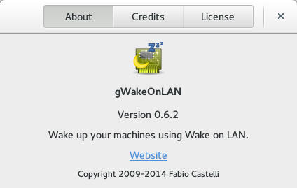About dialog for gWakeOnLAN 0.6.2