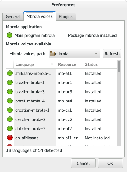 Preferences window for MBROLA