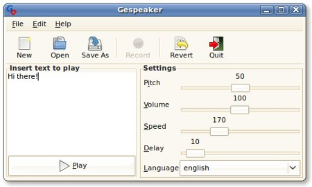 Main window for Gespeaker 0.1