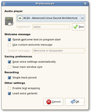 Preferences window for Gespeaker 0.5
