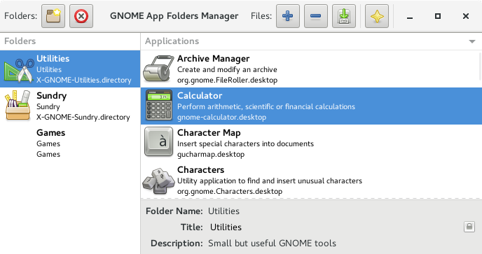 Main window for GNOME AppFolders Manager 0.2.0