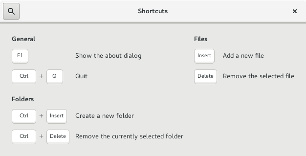 Shortcuts window for GNOME AppFolders Manager 0.2.2