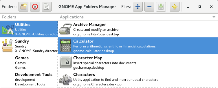 Main window for GNOME AppFolders Manager 0.2.3