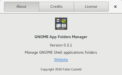 About dialog for GNOME AppFolders Manager 0.3.1