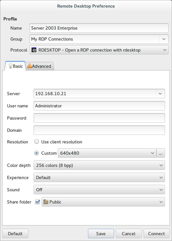 Remmina Plugin RDesktop | Settings